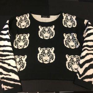 Minkpink tiger zebra cropped sweater